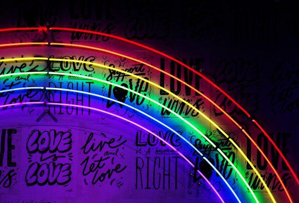 Muur Neon regenboog, love,, homo's