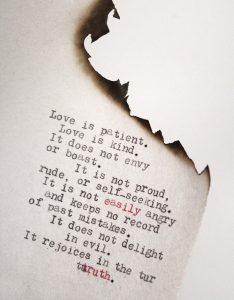 Valentijn dag van de liefde korinthe 13 papier engels 1200